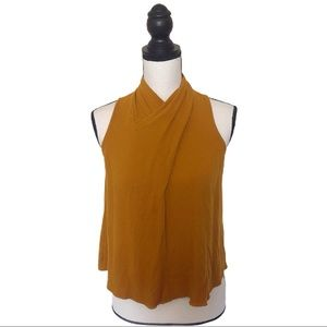 Anthro Maeve Mustard Yellow Back button Tank Top